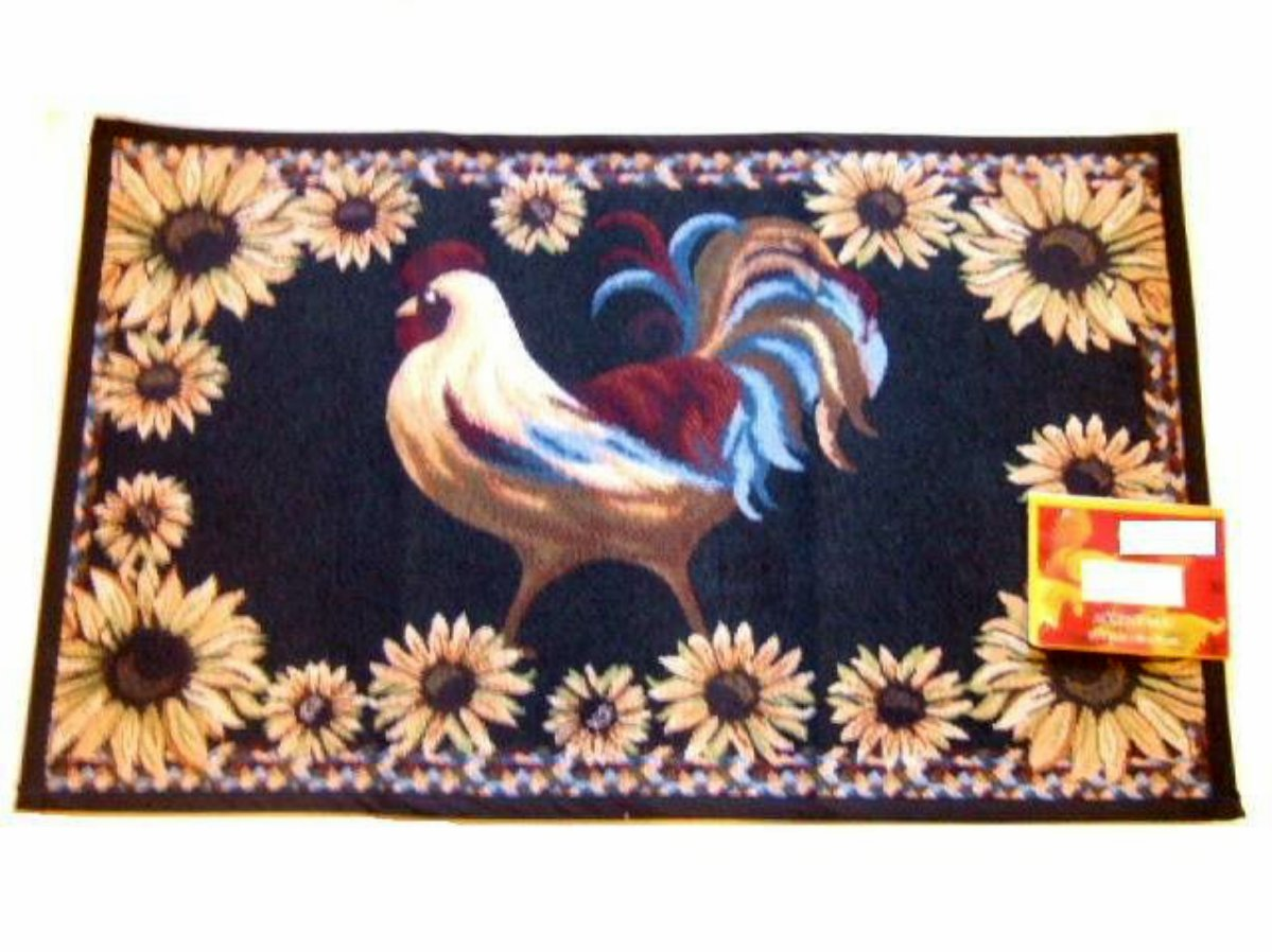 Black French Country Rooster and Sunflowers Tapestry Accent Rug