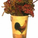 Metal Rooster Planter or Vase with Handles and Berries