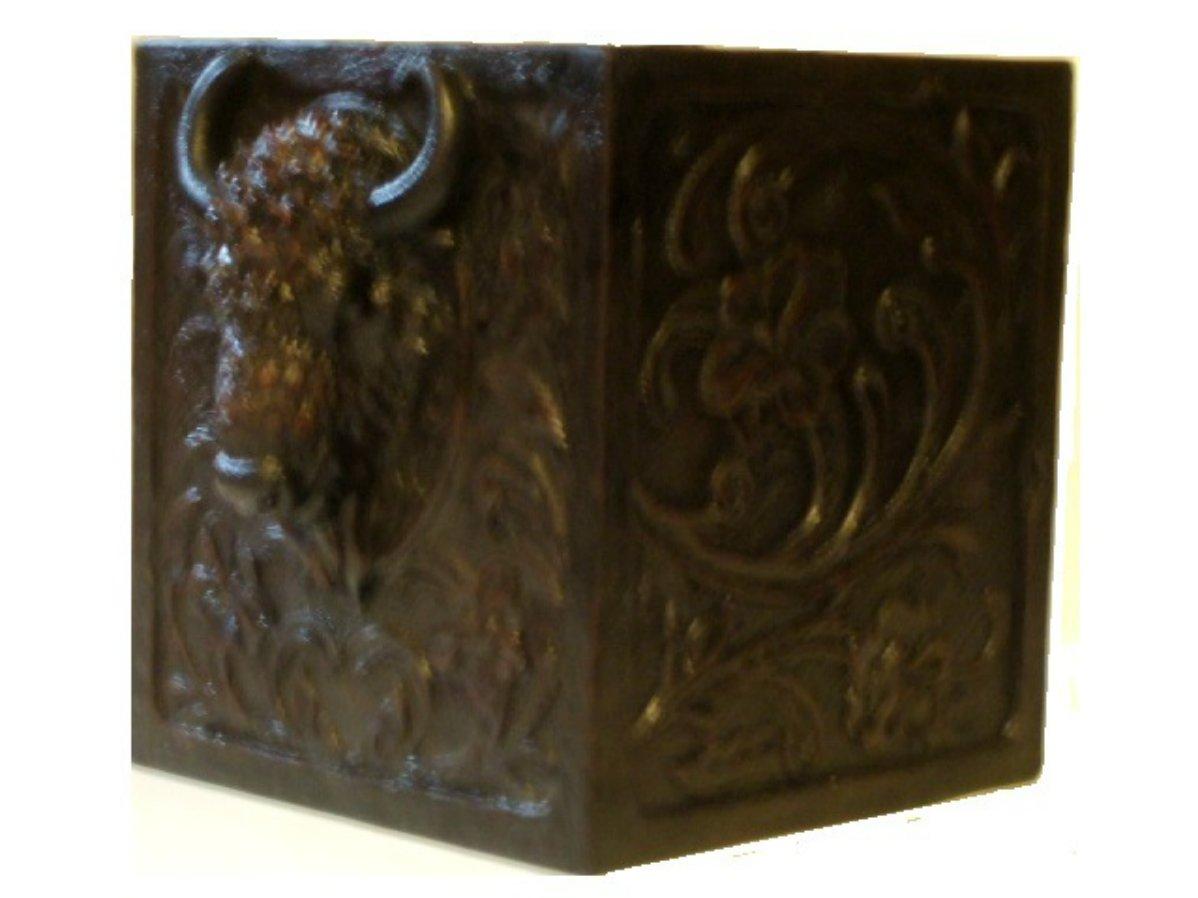 Bison Buffalo Head Tissue Box Cover Western Bath Decor