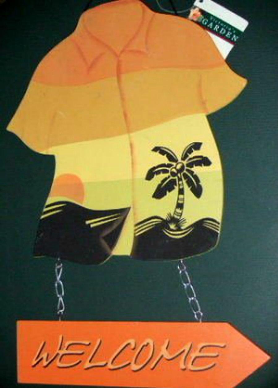 Hawaiian Shirt Wood Welcome Sign Tropical Beach Decor