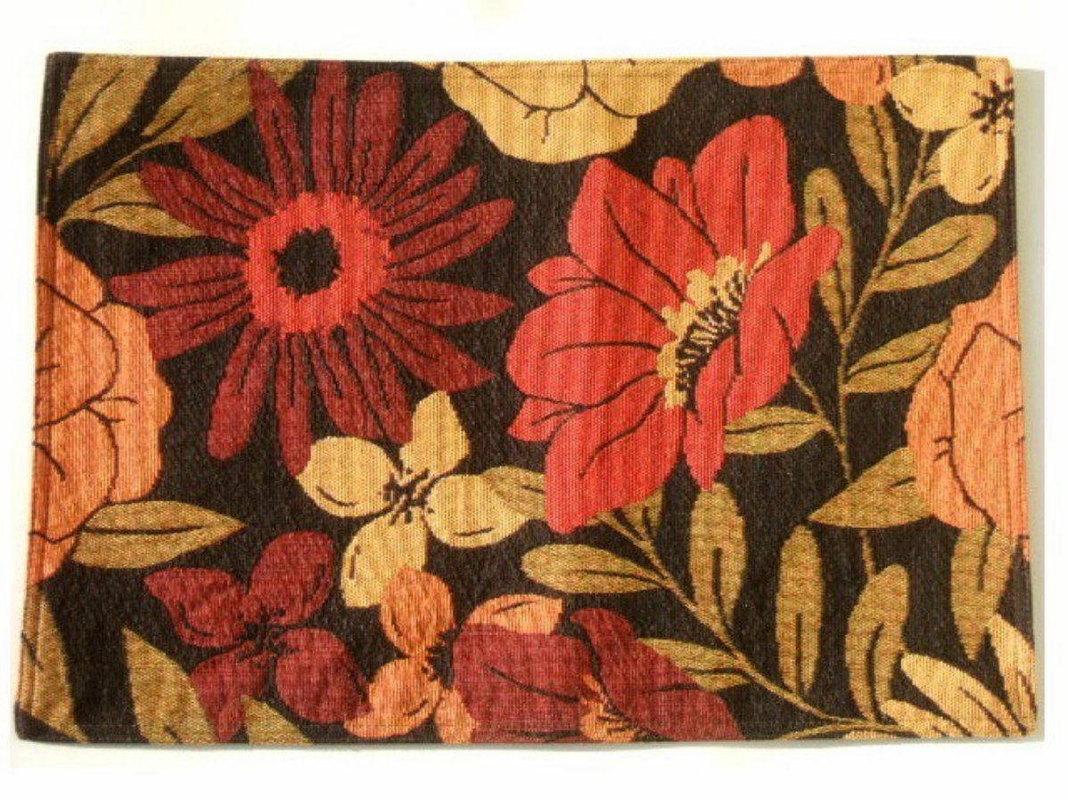 Red Floral Placemats Set Retro Flower Power