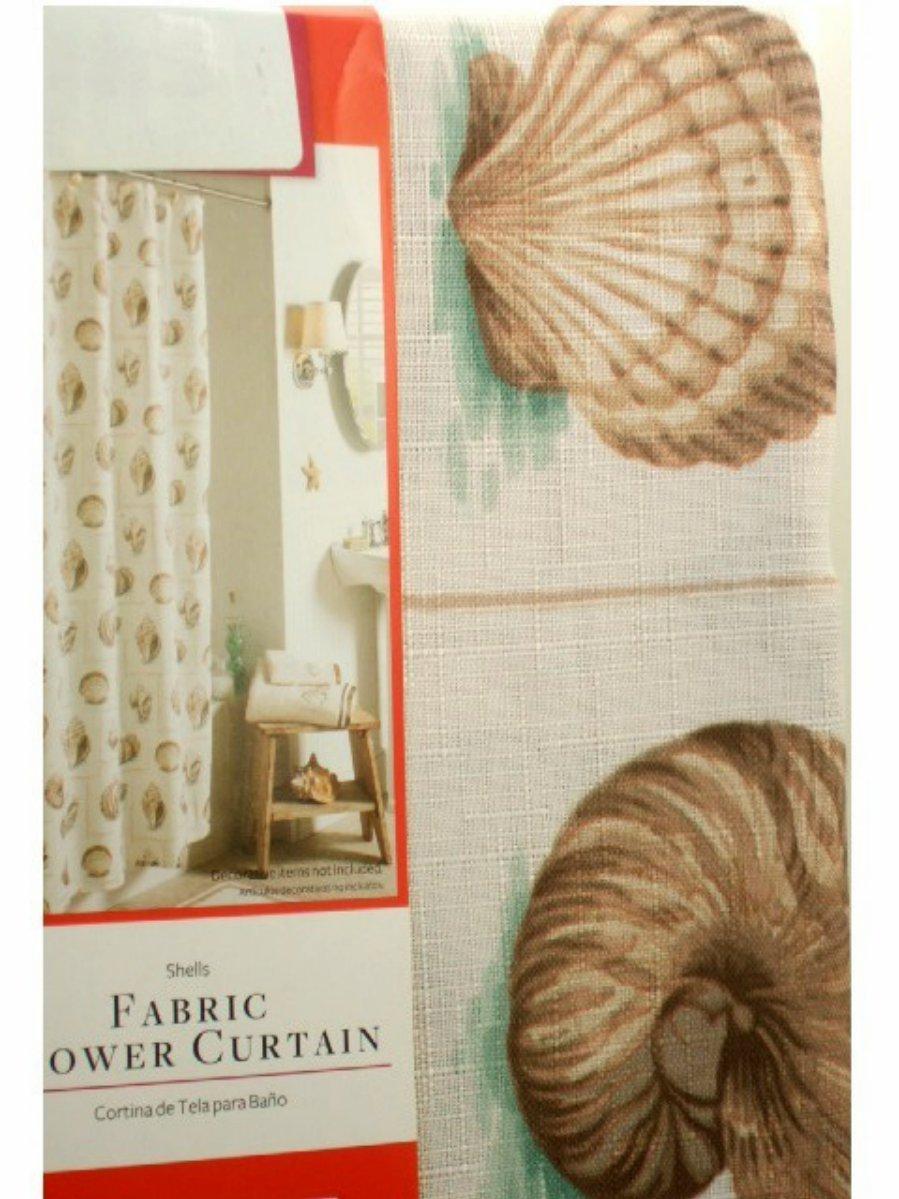 Seashells Fabric Shower Curtain Beach Decor