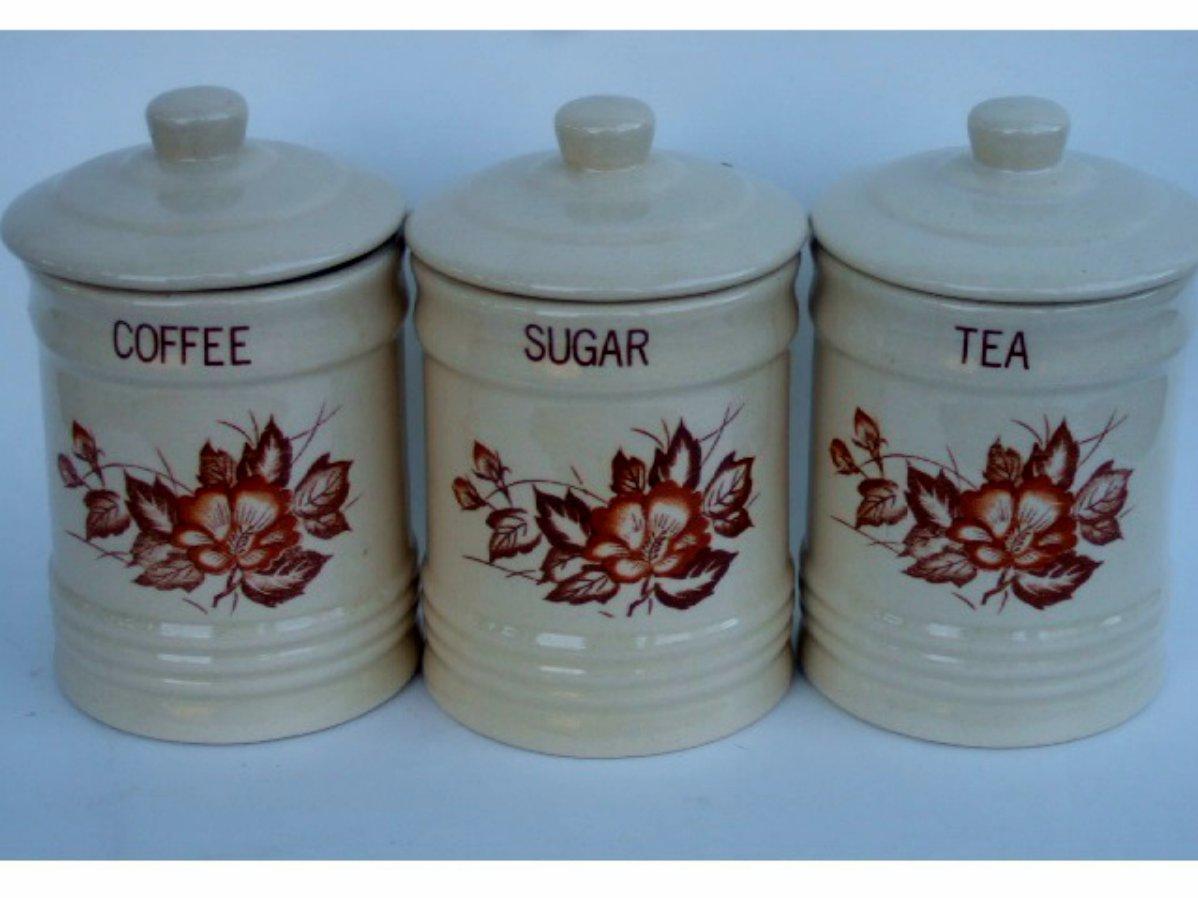 Retro Floral Ceramic Canister Set