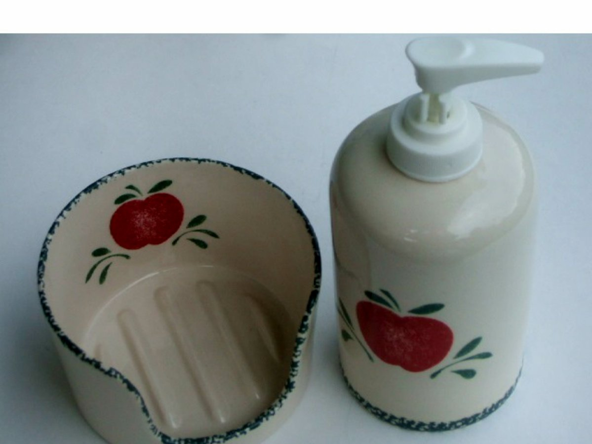 Apple Soap Pump Scrubber Holder Set Ceramic