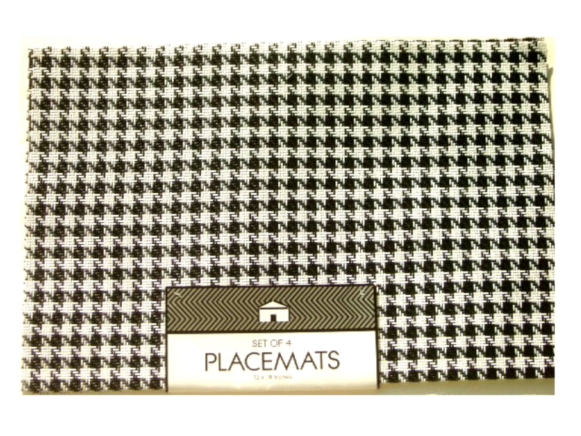 Black White Houndstooth Placemats Set