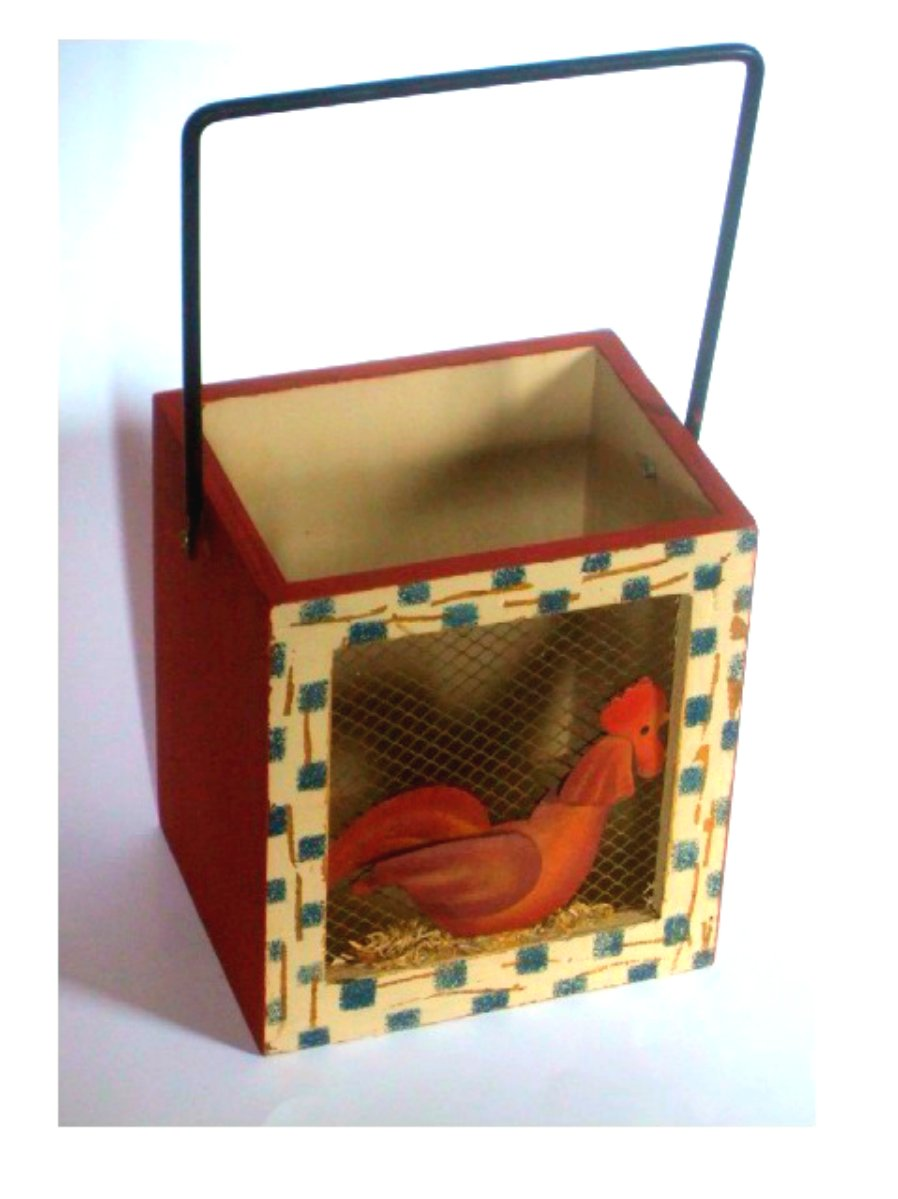 Rustic Rooster Wood Box with Handle