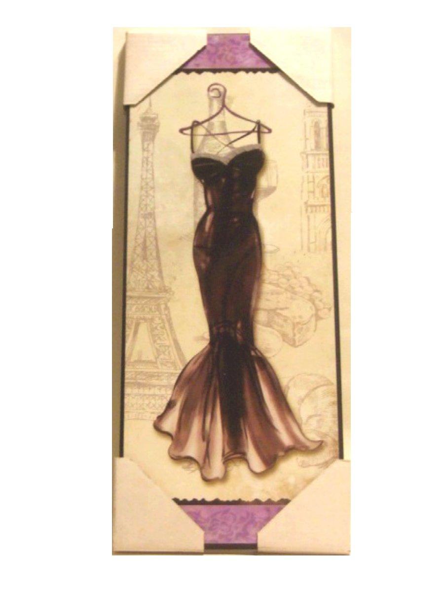 French Dress Eiffel Tower Wood Plaque Wall Decor