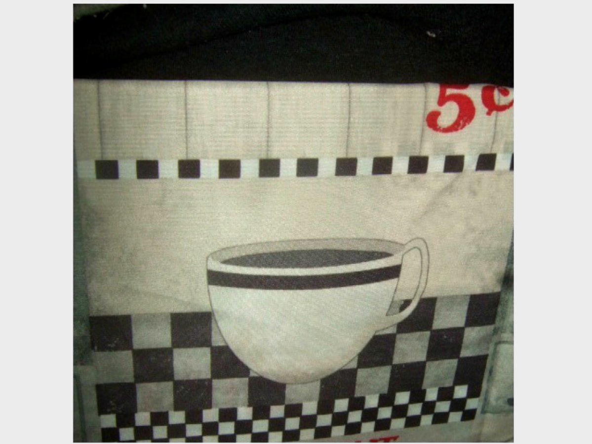 Diner Coffee Cups Kitchen Curtains Set Grommets Retro Look