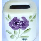Floral Ceramic Tissue Box Cover Purple Flowers