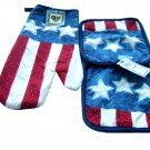 Stars and Stripes Kitchen Linen Set Oven Mitt and Potholders