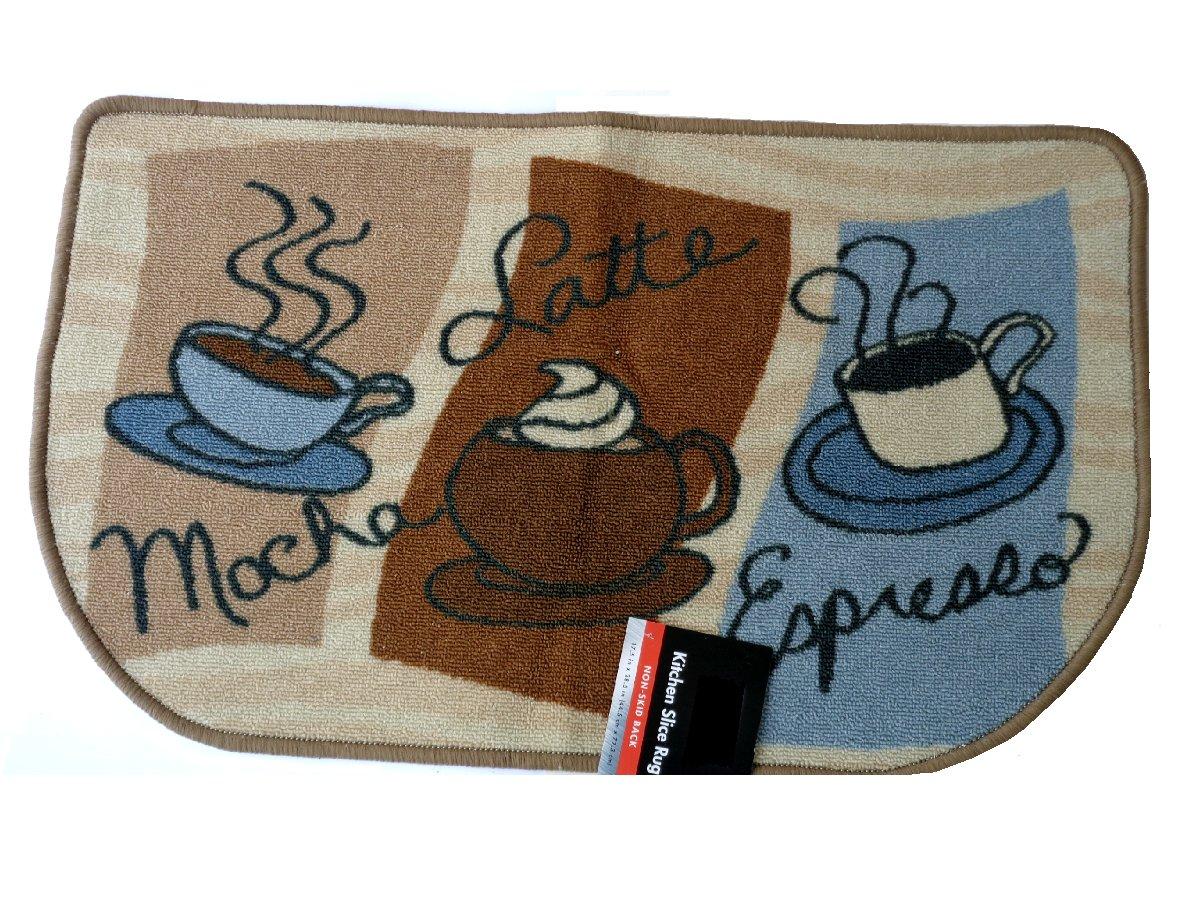 Mocha Latte Espresso Kitchen Rug Coffee Cups Mat