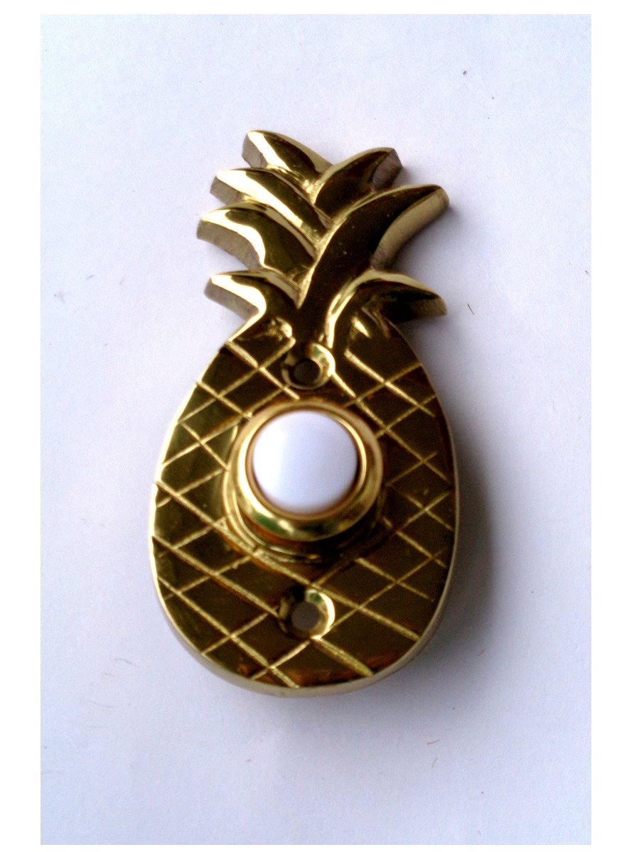 Brass Pineapple Push Button Doorbell Plate