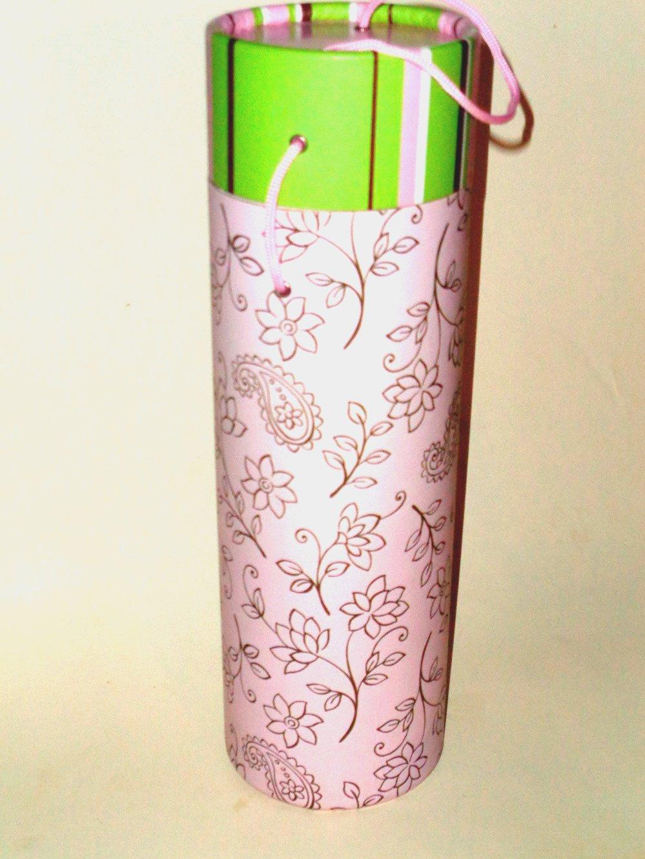 Paisley Floral Pink Wine Tube Box