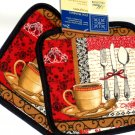 Coffee Cup Kitchen Towel Pot Holders Oven Mitt Set
