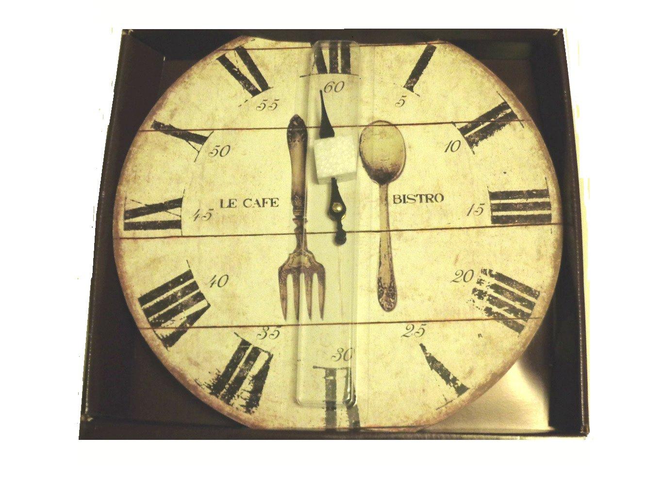 Fork Spoon Utensils Bistro Kitchen Wall Clock