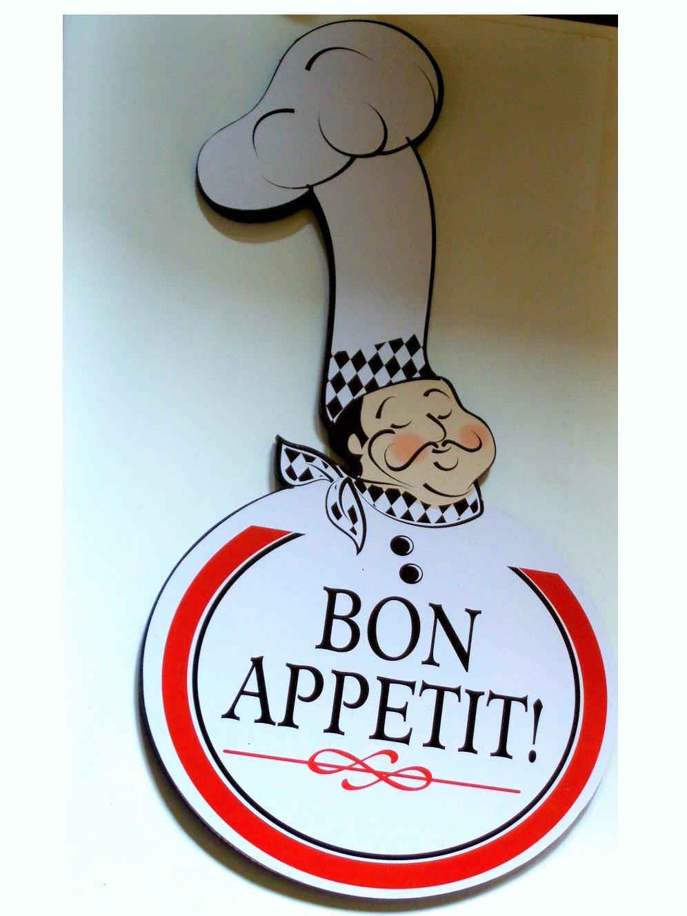 Fat Chef Kitchen Sign Plaque Bon Appetit