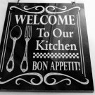 Welcome Kitchen Sign Bon Appetit Plaque
