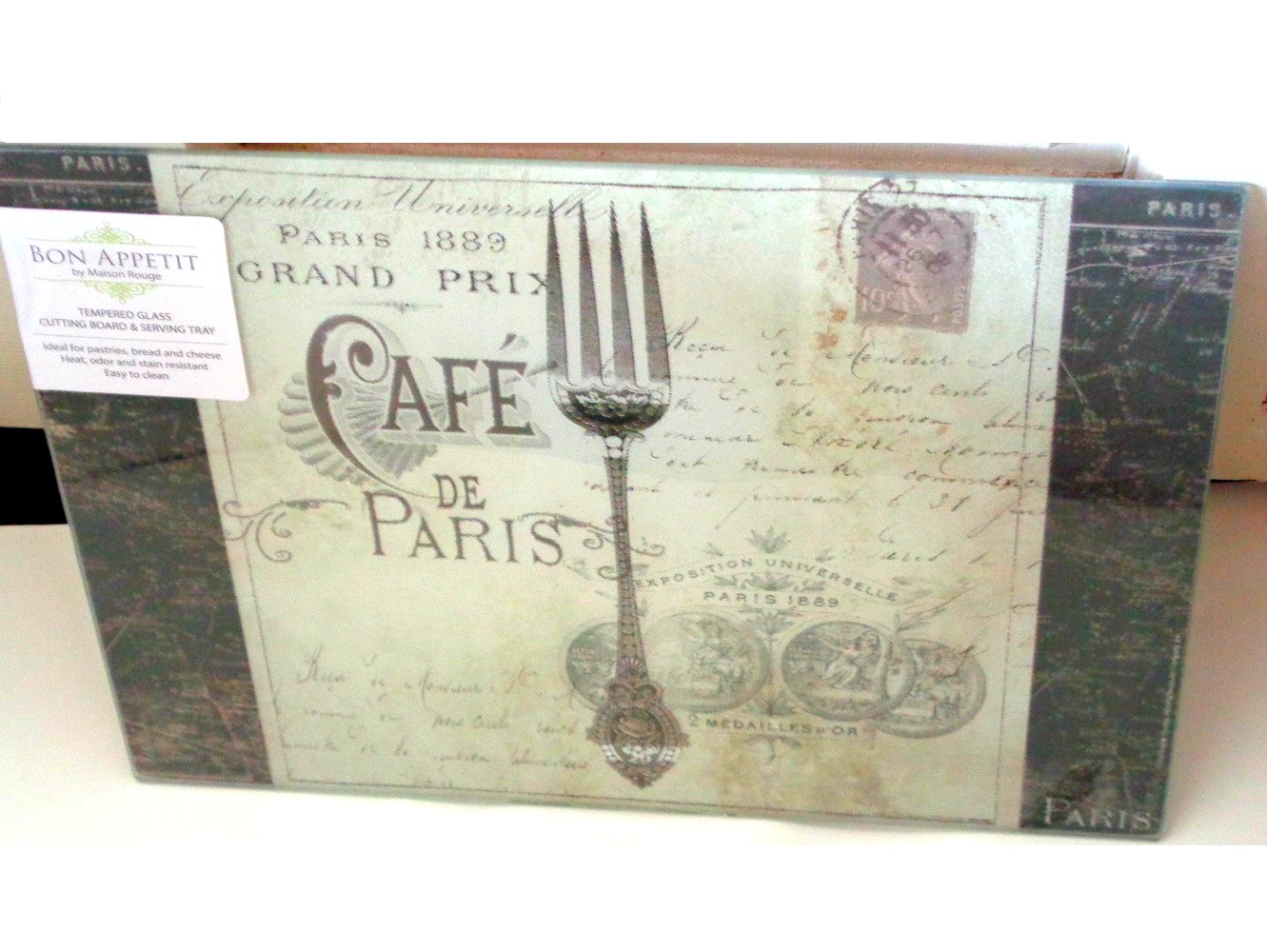 Bon Appetit Cafe de Paris Glass Cutting Board Serving Tray