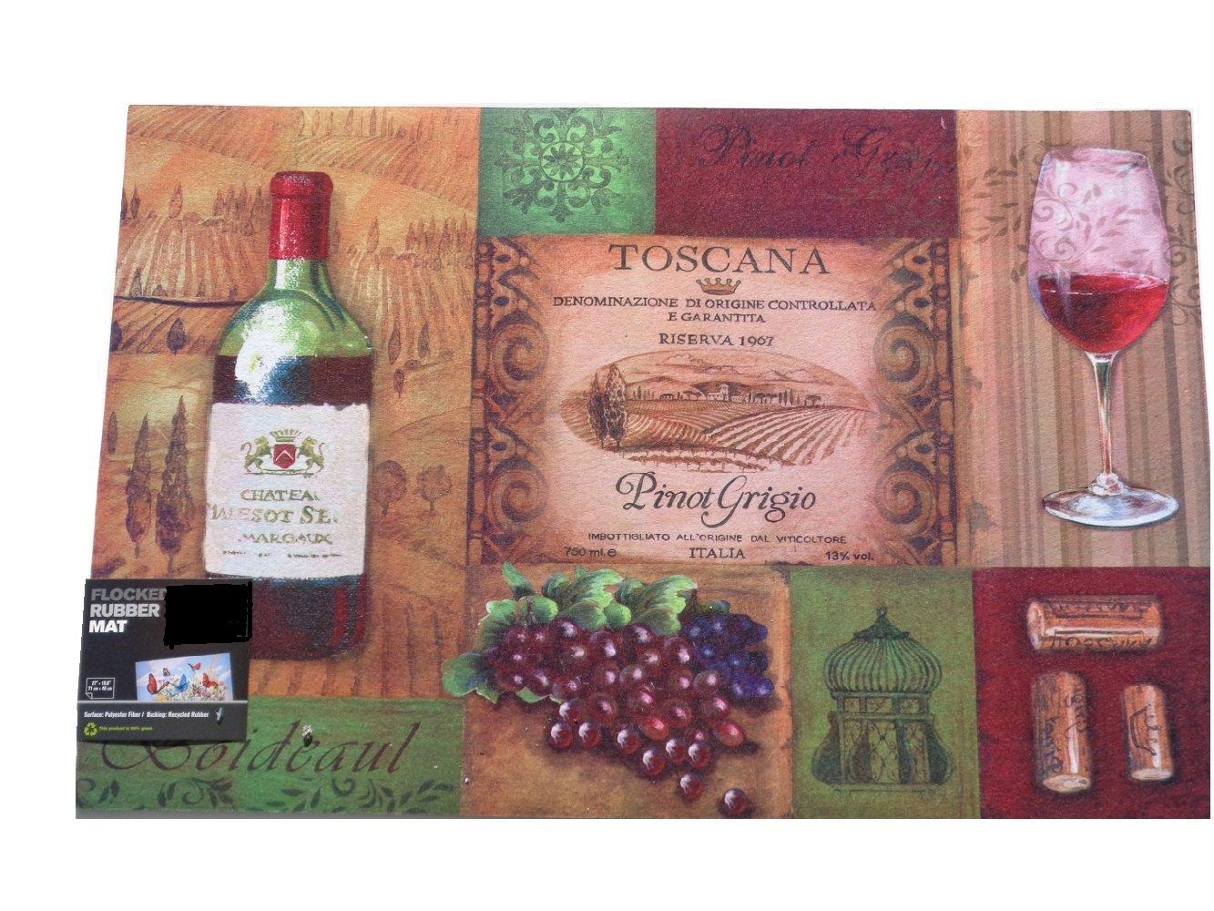 Tuscan Wine Bottle Glass Grapes Rubber Mat Kitchen Bar Rug