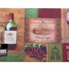 Tuscan Wine Bottle Glass Grapes Rubber Mat Kitchen Bar Rug