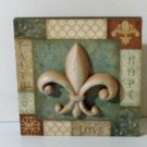 Fleur De Lis Wall Plaque Sculpted Art