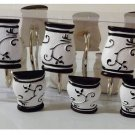 Bon Jour White Black Damask Shower Curtain Hooks