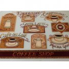 Coffee Cups Placemats Set Espresso Cappuccino Latte Mocha Themed Kitchen Mats