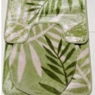 Green Ferns Bath Mat Set 3 Pieces Botanical Motif