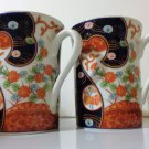Set of Floral Orange and Navy Blue Coffee Mugs Tea Cups