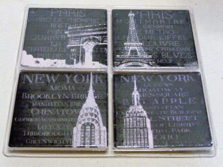Paris New York Landmarks Stone Coaters Set