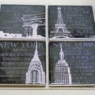 Paris New York Landmarks Stone Coaters Set