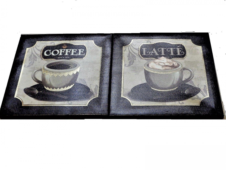 Coffee Latte Kitchen Canvas Wall Art Set