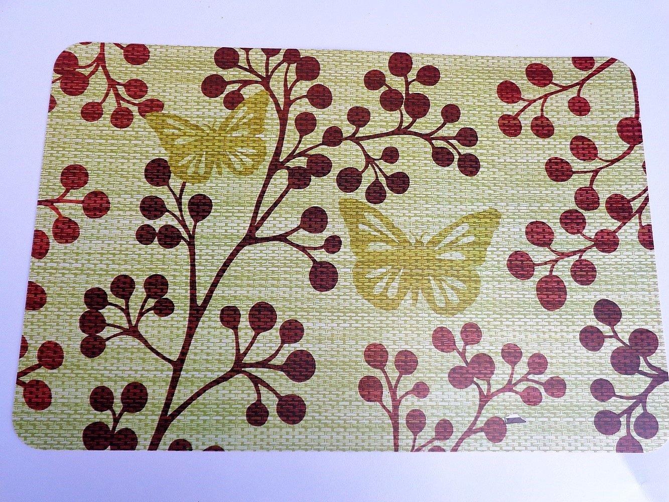 Floral Butterflies Placemats Set Spring Kitchen Decor