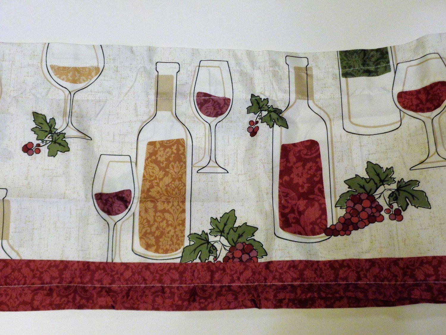 Wine Bottles Grapes Kitchen Curtains Set Tiers Valance