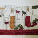 Wine Bottles Grapes Kitchen Curtains Set Tiers Valance Set