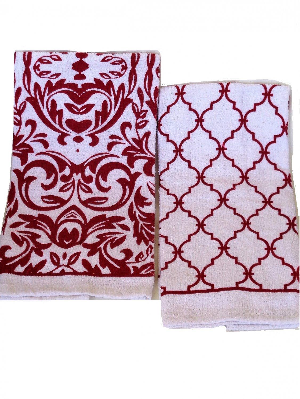 Kitchen Towels Damask Trellis Linens Red White