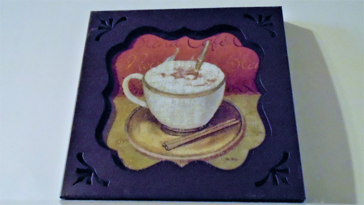 Cappuccino Coffee Cup Metal Plaque Kitchen Wall Art