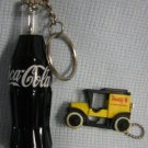 Coca-Cola Miniature Pen Bottle + Model T Keyrings Coke