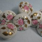 8 Porcelain White Floral Ceramic Cabinet Knobs