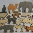 Vintage Wood Animals People Block Toys
