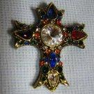 Vintage Rhinestone Cross - Unique Brooch