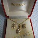 ROMAN CRYSTAL Necklace Earrings Pendant Set