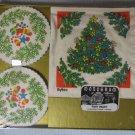 Monogram Christmas Party Smarty Napkin Coaster Set MIB