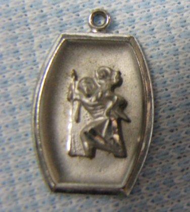 ST CHRISTOPHER Sterling Charm Pendant Vintage Rosary