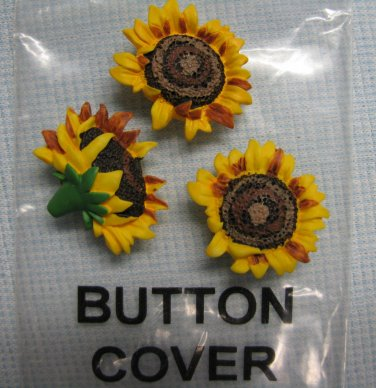 Sunflower Button Covers 3pc