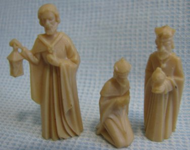 Vintage Nativity 3 Wise Men King Plastic Figures Miniatures TINY Tiny