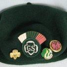 Vintage GSA Wool Beret Fan Hat + Pins Girl Scouts
