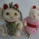 Maneki Neko Lucky Cat Figurine and Keychain