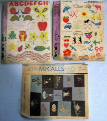 McCalls Iron-On Transfer Embroidery Patterns 2965 3272 4385 for Children