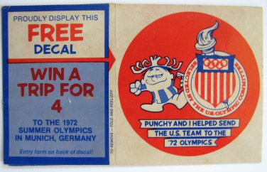 """Vintage Hawaiian Punch """"Punchy"""" 1972 US Olympics Promo Sticker Decal"""